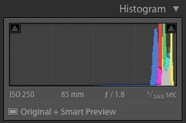 High key histogram in Lightroom