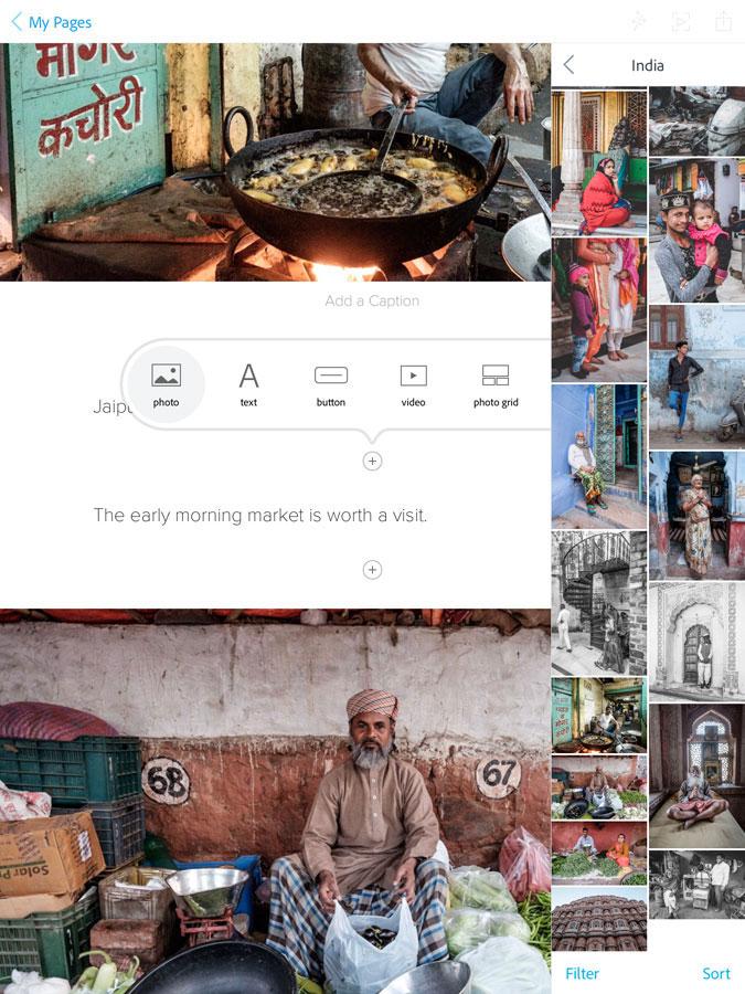 Adobe Spark Page app