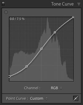 Lightroom Classic Tone Curve panel