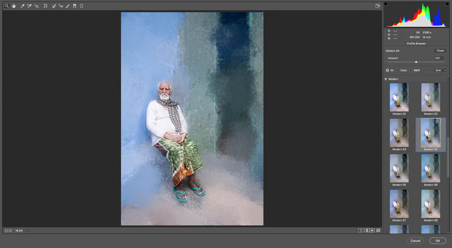 Painterly effect photo made in Photoshop screenshot